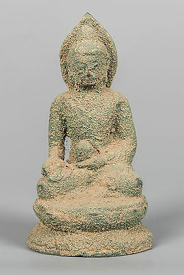 """Antique Seated Bronze Chinese Buddha Statue - Calling Earth to Witness - 13cm/5"""""""