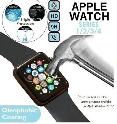 Genuine Tempered Glass 9H Screen Protector for iWatch Apple Watch Series 4/3/2/1
