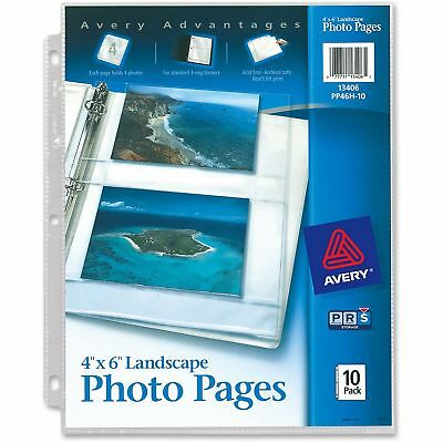 Avery Photo Storage Pages for Four 4 x 6 Horizontal Photos 3-Hole Punched 10 PK