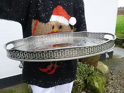 Glorious Large Heavy Antique Sheffield Silver Plated Footed Drinks Serving Tray