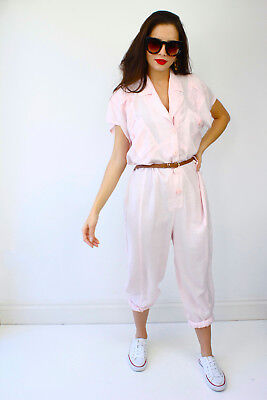 Vintage 80's Pink Short Sleeve Party Romper Jumpsuit Glamzam