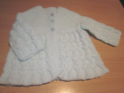 Boy's Hand Knitted Baby Matinee Jacket Size 000  New Without Tags