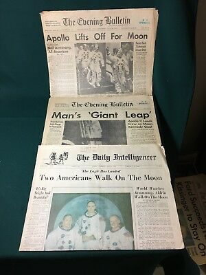 3 newspapers from Apollo 11