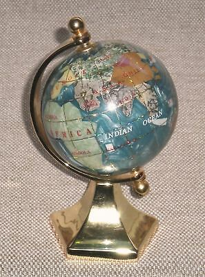 Vintage World Globe PAPERWEIGHT Rotating on Gold Tone Holder 806g
