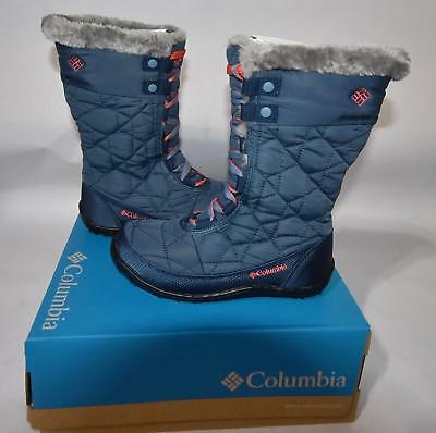 Columbia Youth Girl 2 Powder Summit Lace Up Snow Boots Insulated Waterproof Blue