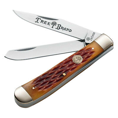 "Boker Tree Brand Trapper Pocket Knife Brown Jigged Bone 4 1/8"" Closed 110732"