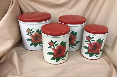 Set of 4 Vintage Metal Kitchen Canisters, Red Flower National Can Decor