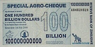 """ZIMBABWE 100 BILLION Dollars Banknote  """"Agro-Cheque"""" +1 $ Currency Note"""