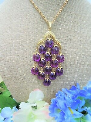 Crown Trifari Stunning Purple Lucite Gold Plated Bib Style Pendant Necklace!