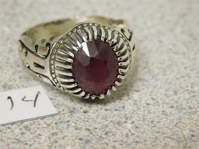 Custom Hand Made Carve Cut Design Men's Silver Ring, With Genuine Red Ruby