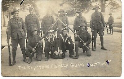 WWI AIF SOLDIERS KEYSTONE COMEDY GUARD 53rd BTN PHOTO POSTCARD LETTER