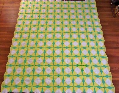 Vintage Handmade Hand Stitched Green & Yellow Patchwork Pieced Quilt Top - 83x75