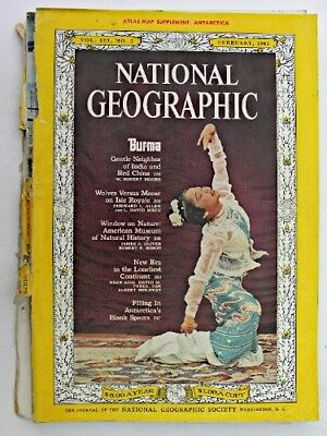NATIONAL GEOGRAPHIC Feb 1963 Burma Isle Royale Wolves & Moose Antarctica Tyree
