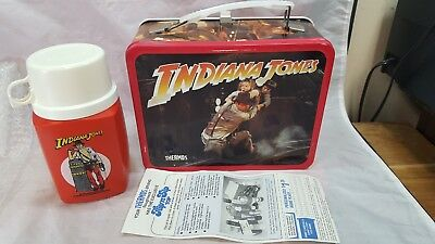 Vintage 1984 INDIANA JONES and the Temple of Doom Metal Lunchbox Thermos MINT