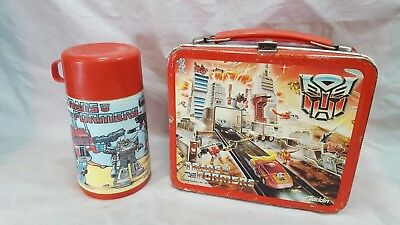 VINTAGE TRANSFORMERS 1986 LUNCH BOX w. THERMOS ALADDIN complete Metal