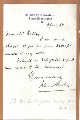 John Morley - Viscount Morley - Chief Sec. for Ireland - Sec. of State for India