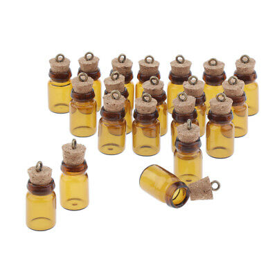 20x Empty Small Bottle With corks 0.5ml/1ml Tiny Amber Glass Bottles Vials