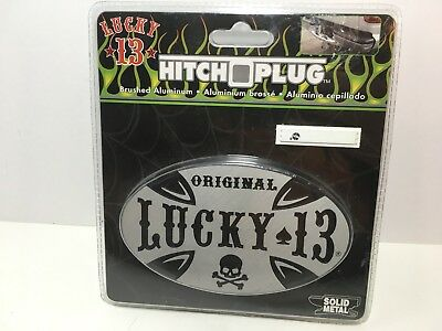 PlastiColor Lucky 13 Solid Metal Trailer Hitch Plug Cover New