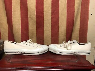 Vintage 1950's RED Ball BAND ARCH Jets Boys White Lo- Central Shoes Sz 5 1/2 M
