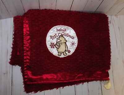 "Disney Classic Pooh Plush Babys First Christmas Blanket 40"" x 30"" Red"