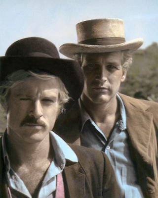 """ROBERT REDFORD PAUL NEWMAN BUTCH & SUNDANCE ACTORS 8x10"""" HAND COLOR TINTED PHOTO"""