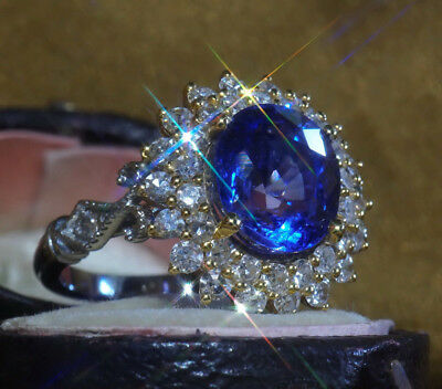 Gia Platinum 18K Blue Sapphire Unheated Diamond Gold Ring Victorian 6.54 Cts