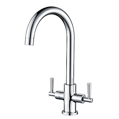 Solid Brass Double Handle Chrome Twin Lever Deck Mono Mixer Sink Kitchen Tap