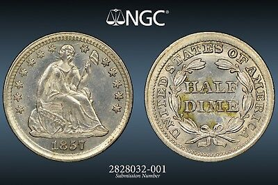 1857 H10C Seated Half Dime NGC MS62 *PROOFLIKE SURFACES*