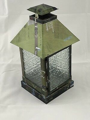 Recycled Tin Candle Lantern w/ Pattern Glass Windows, Votive, Tealight, Pillar,