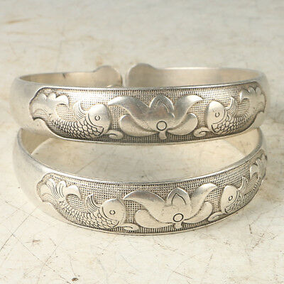 A Pair Tibet Silver  Hand-carved  Fish & Lotus Bracelet RS032