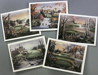 10 Golf Wildlife Blank Note Card Wood Duck Cardinal Loon Goose Thank You Fold WI