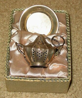 Antique Krew STERLING SILVER Teapot Tea Leaf Strainer Infuser with Underplate.