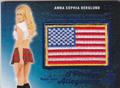 2018 Benchwarmer Hot For Teacher Anna Sophia Berglund Blue Foil Flag Patch /2