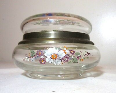 antique hand painted glass brass floral flower dresser vanity jewelry jar box