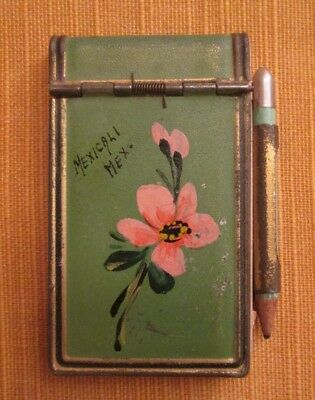 Vintage Souvenir Metal Flower Notepad W/Pencil + Picture From Mexicali, Mexico