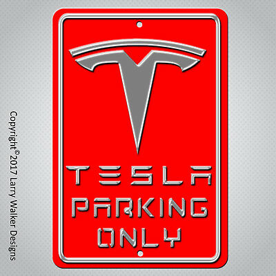 """Custom Red and Silver Aluminum TESLA Parking only sign New 8"""" x 12"""""""