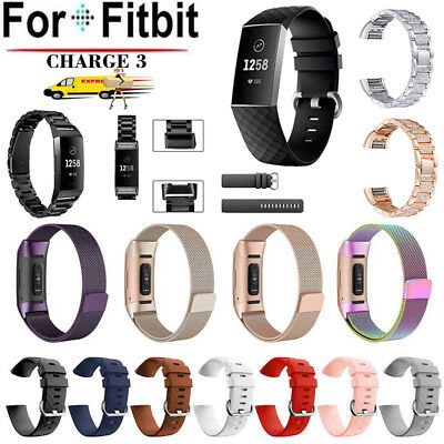 For Fitbit Charge 3 Three beads Silicone Milanese Metal Strap Band Buckle AU
