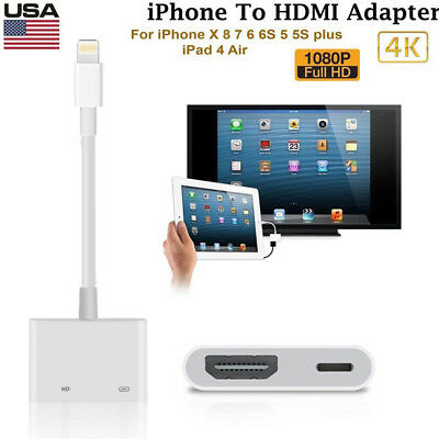 1x For Apple Iphone 6 7 8 + X Ipad Lightning to HDMI Digital AV TV Adapter Cable