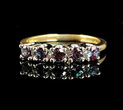 RARE NATURAL 3/4ctw ALEXANDRITE SOLID 14K GOLD FIVE STONE ANNIVERSARY BAND RING