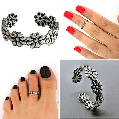 Elegant Flower Adjustable 925 Silver Plated Toe Ring Foot Jewelry Beach New SP