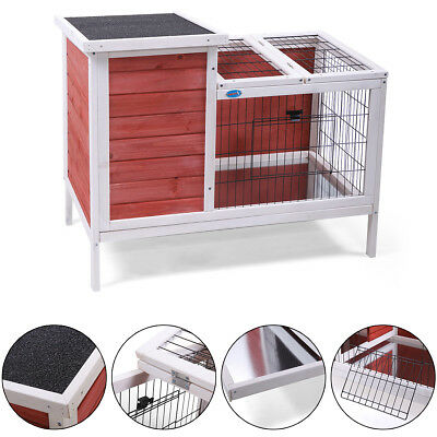 Wooden Rabbit Hutch 24'' Pet Habitat Cages Bunny Small Animal Cat House
