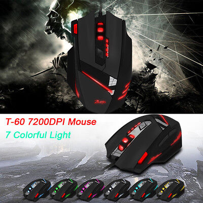 7200DPI ZELOTES T-60 Professional USB Wired Optisch 7 Tasten Gaming Maus Mouse