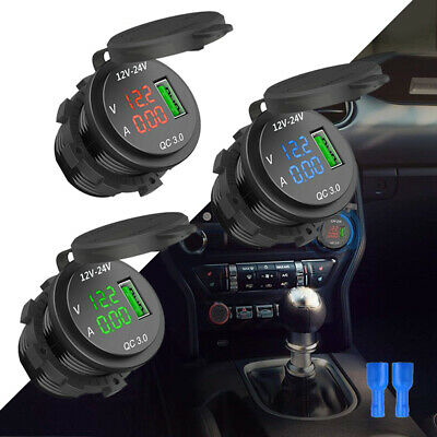 12V/24V 3A Car Cigarette Lighter Socket QC 3.0 USB Charger Adapter LED Voltmeter