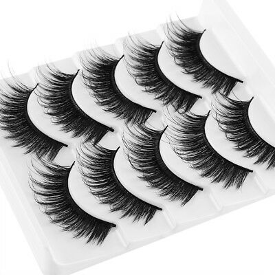 5 Pairs Natural Fluffy Cross Eye Lashes Extension Makeup Long False Eyelashes