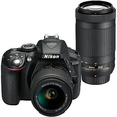 Nikon D5300 DSLR Camera With 18-55mm and 70-300mm Lenses Kit - Black