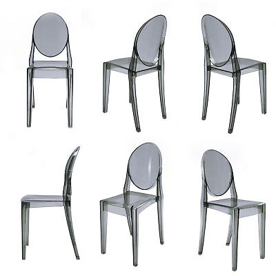 Dark Grey Set of 4 Dining Chair Victoria Style Ghost Dining Chair Smoke Color