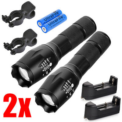 2Sets Tactical Police 15000lm Ultrafire T6 5 Modes LED Flashlight +18650 Battery
