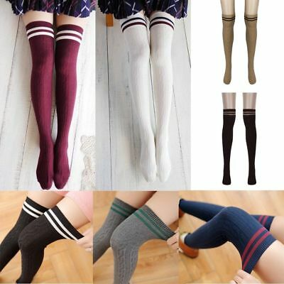Girls Womens College Wind Thigh High Socks Over The Knee long Cotton Stockings