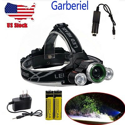 150000LM 3-Head T6 LED 18650 Headlamp Headlight Flashlight Zoomable Head Torch