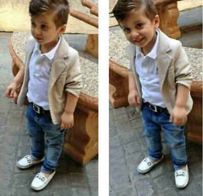 3pcs Boys Baby Toddler Kids Outfit Set Pants Trousers Outerwear Coat+Shirt+Jeans